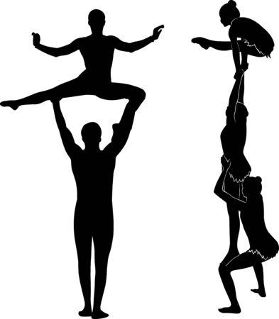 akrobatyczny wyczyn. Gimnastycy akrobaci wektor czarna sylwetka Ilustracje wektorowe