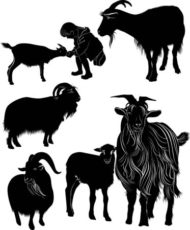 animals goats collection vector silhouette