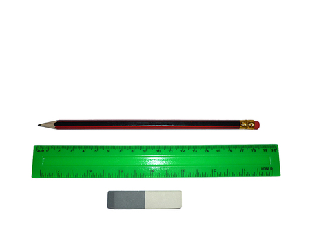 Simple eraser pencil and ruler