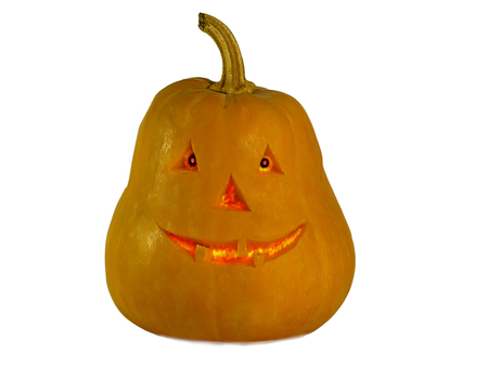 pumpkin halloween with eyes isolated on white background