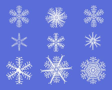 Snowflake white vector on plain background. Ilustração