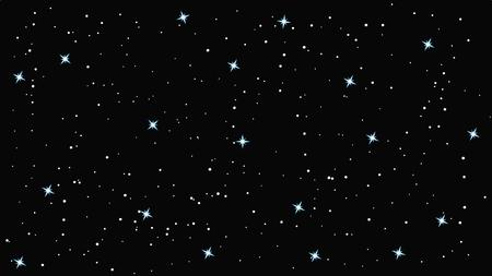 Starry sky background flat vector illustration, white stars.