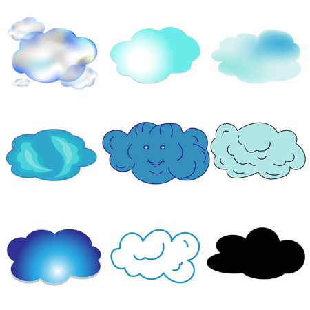 blue and black, transparent clouds in the sky isolated vector illustration