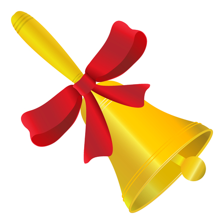 Bell jolty with red bow vector illustration on white background. Illustration