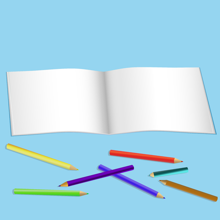album for drawing and color pencils vector illustration blue