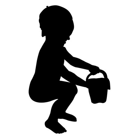 silhouette of a child in a cap vector illustration