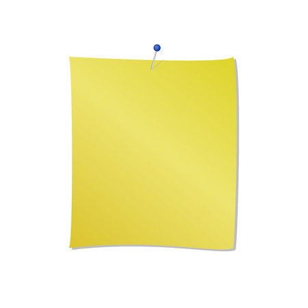 Yellow note pad with blue pin attached vector isolated on white background