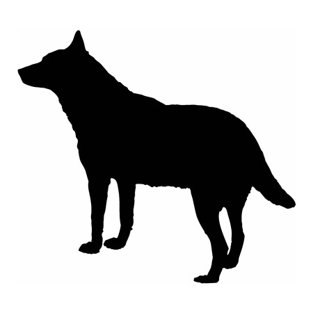 Dog wolf black silhouette isolate on white background vector illustration.