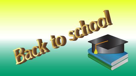 Back to school book blue vector illustration.