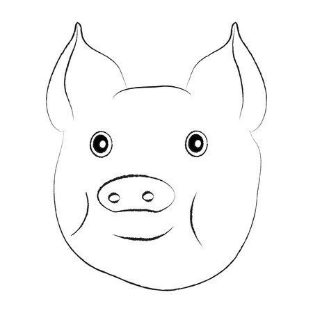 pig head vector illustration isolated on white background icon