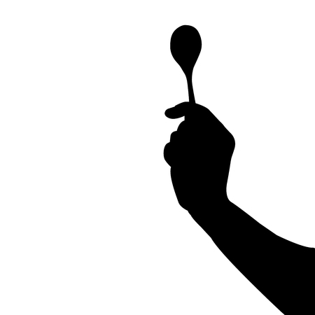 spoon in hand silhouette vector illustration. Vectores