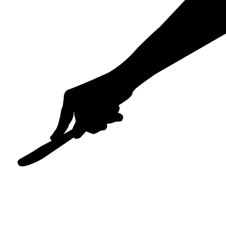 knife in hand silhouette, vector graphic isolated on white background.