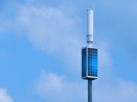 solar battery towers in the blue sky.