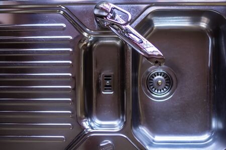 Top view Chrome sink with copy space