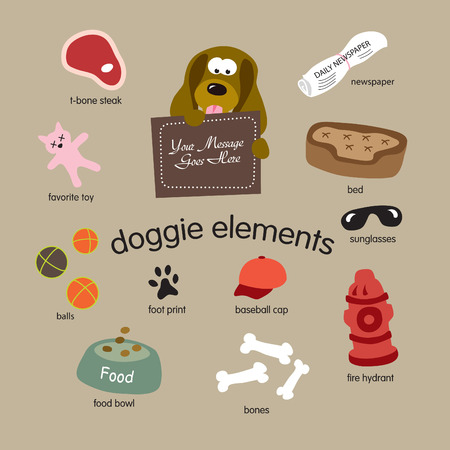 doggie elements vector set Vector