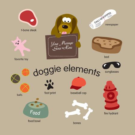 doggie elements vector set Vettoriali