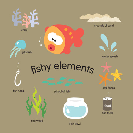 underwater fishes: fishy elements vector set Illustration