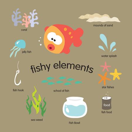 fishy elements vector set Vectores