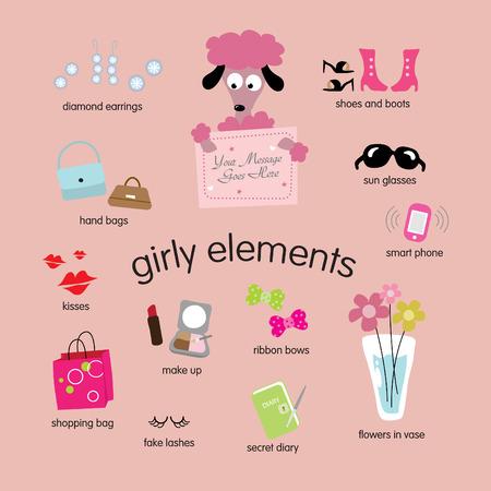 girly elements vector set Vettoriali