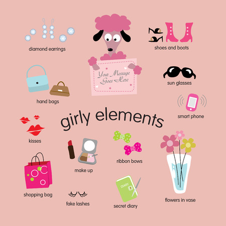 earring: girly elements vector set Illustration