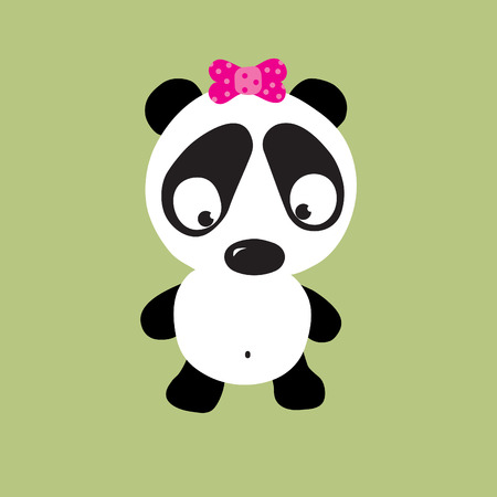 lost child: sad panda vector Illustration