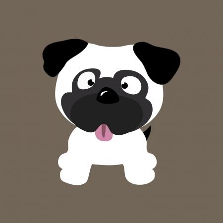 cute pug vector