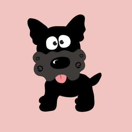 droopy: black curly yorkie vector