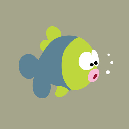 outline fish: Curious Fish Vector Illustration