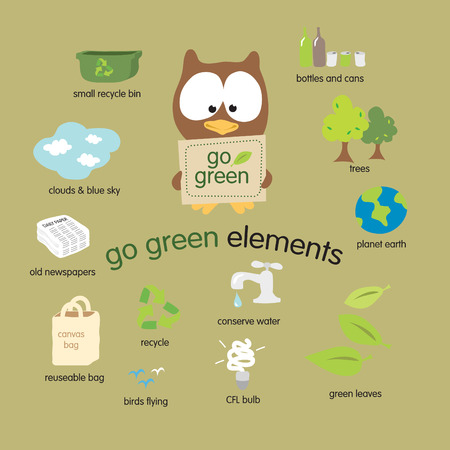 Go Green Elements Vector Set Çizim