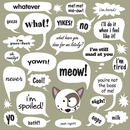 spoiled: Various phrases in cartoon bubbles