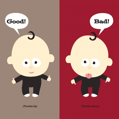 Baby Thumbs Up & Thumbs Down (Vector)