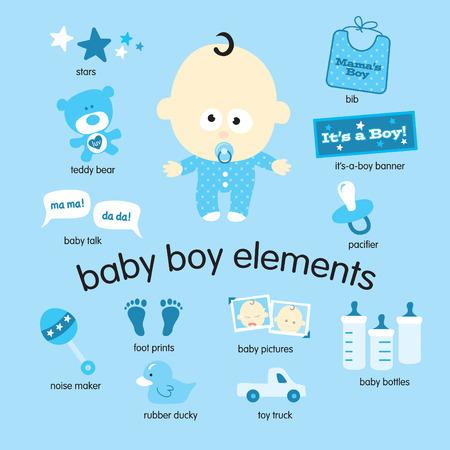 Vari disegni vettoriali di oggetti baby boy