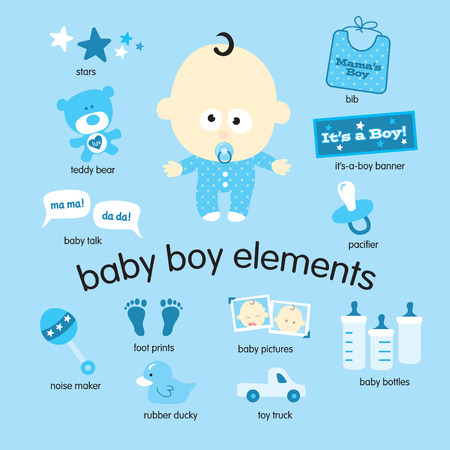 Various vector drawings of baby boy items