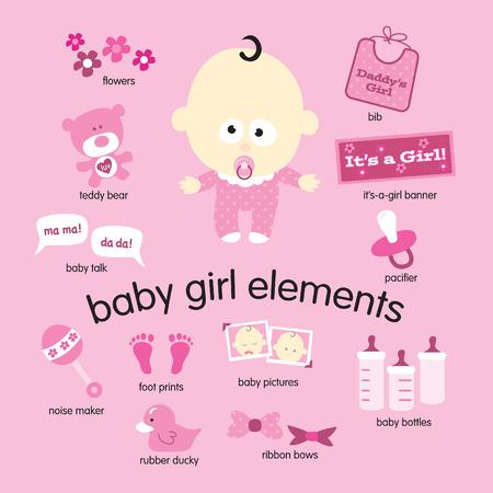 Vari disegni vettoriali bambina di oggetti Vettoriali