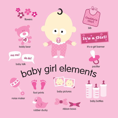 Various vector drawings of baby girl items Vector