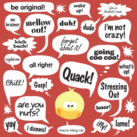 phrases: Various phrases in cartoon balloons