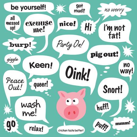 cerdo caricatura: Diversas frases en los globos de dibujos animados