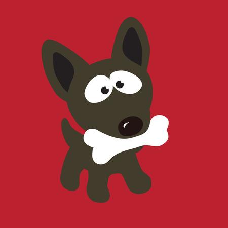 perro caricatura: Perro con hueso