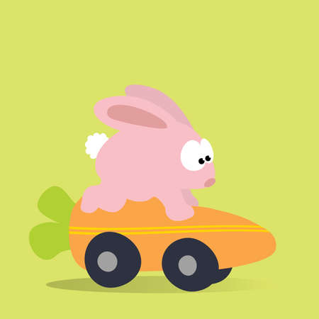 Easter Bunny on a carrot mobile Vector