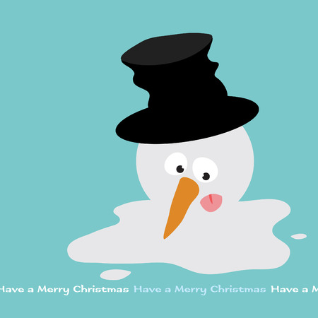 snowman vector: Melting Snowman  Illustration