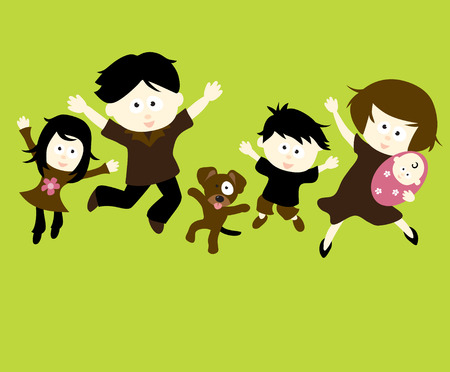 Family Jumping Stock Vector - 4445641