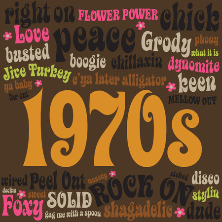 1970 phrases and slangs Vector