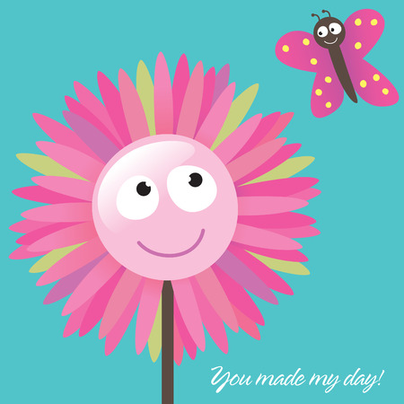 daisy pink: Thank You Card Template (You Made My Day!)