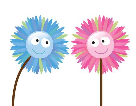 互いのように 2 つの花  イラスト・ベクター素材