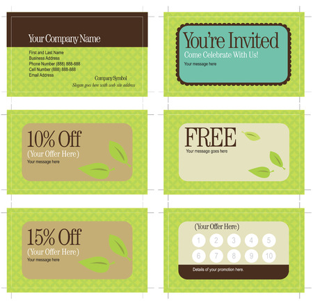 3.5x2 business card and promo cards (includes crop marks, key line and bleed) Vector