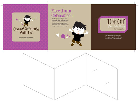 15x5 Three Panel Brochure Template (Folds to 5x5, includes crops, bleeds, fold marks, prints one side)