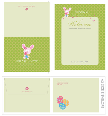 Special Event Templates (includes A2 invite with cropmarks & bleeds, A2 envelope setup and 8.5x5.5 program) Stock Vector - 4541965