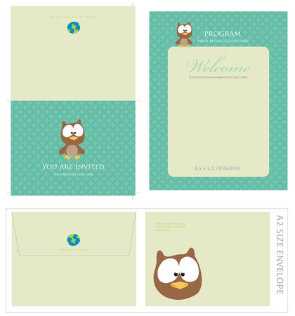 owl illustration: Special Event Templates (includes A2 invite with cropmarks & bleeds, A2 envelope setup and 8.5x5.5 program) Illustration