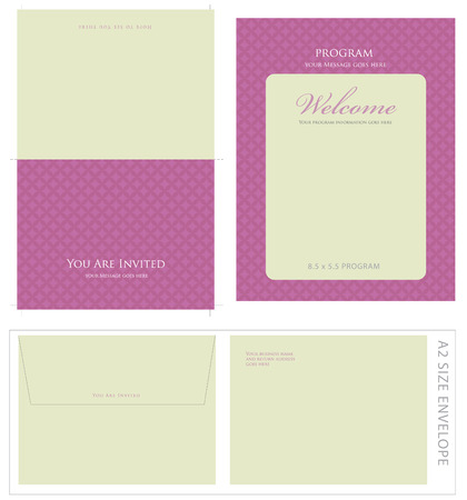 Special Event Templates (includes A2 invite with cropmarks & bleeds, A2 envelope setup and 8.5x5.5 program) Stock Vector - 4541971