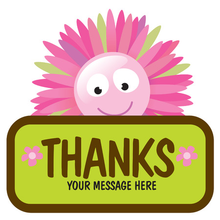 thanks you: Isolated flower with sign Illustration
